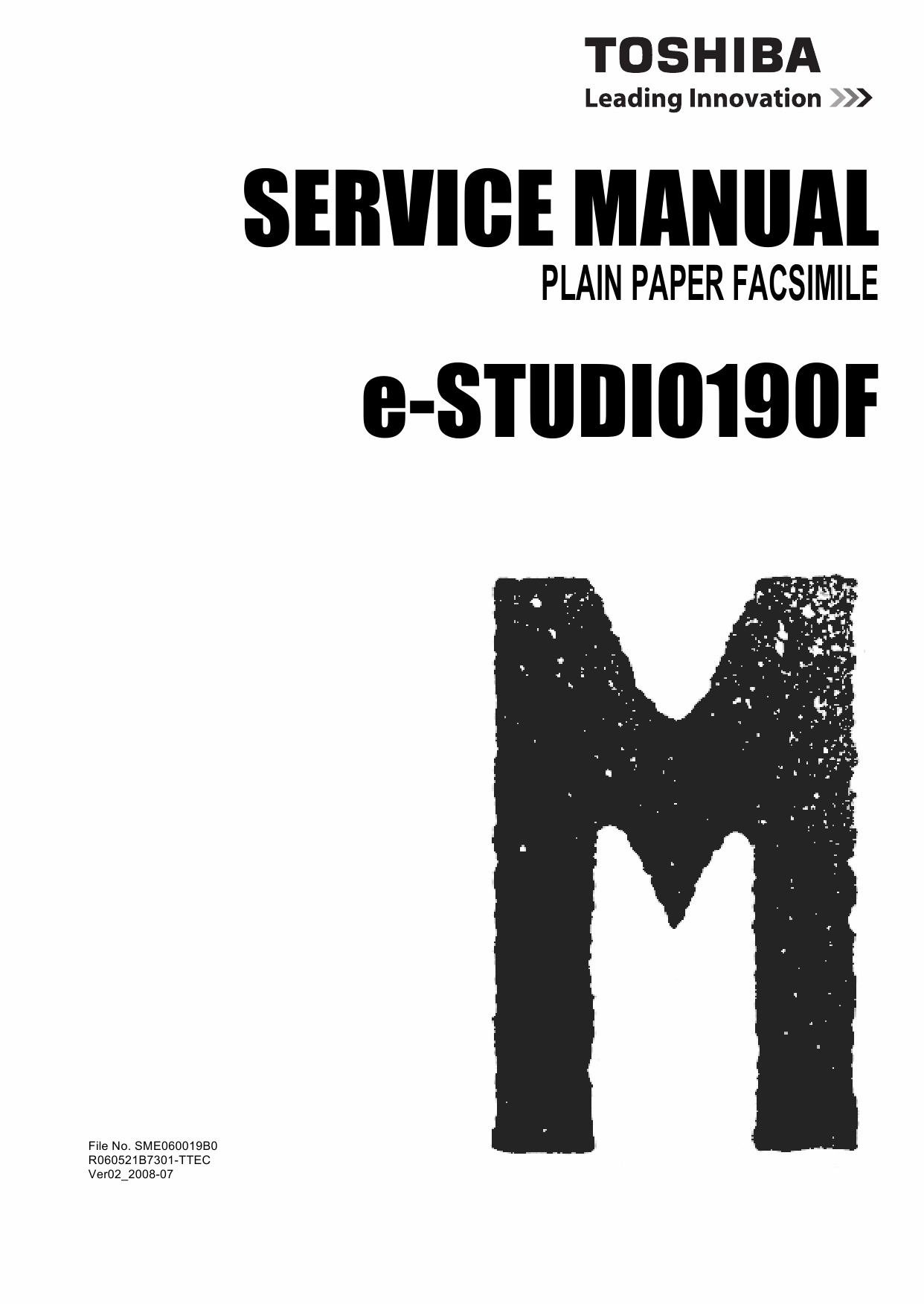 TOSHIBA e-STUDIO 190F Service Manual